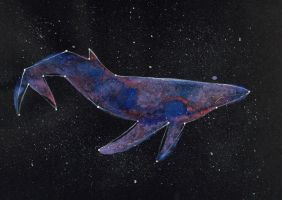 Pastel Constellation Whale Watercolour Painting by CreaturesofNat