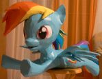 Dashie papercraft 7 - starting to paint by Znegil