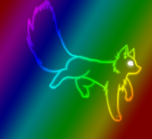 Rainbow Fox by moonlightartistry