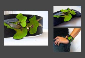 Ginkgo leaves leather cuff by julishland