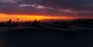 Venice Beach Skatepark at Sunset by cdooginz