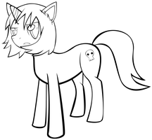 Gaz as a pony (line art) by iSmellMusic