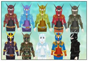 Masked Hero Helms For Comipo by Lady-Aurora-Moon