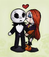 Jack and Sally -coloured- by AllieNine