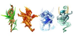 4 elements fairies sketch by jurithedreamer