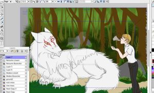 Daily Drawing: Natsume Yuujinchou WIP Pt2 by clumsydemonwithfire