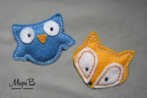 Felt Brooches - Owl and Fox by releaserevolverenew