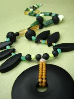 Tribal style gemstone necklace by throw-a-bomb