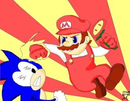 Mario Vs. Sonic by Mauduin