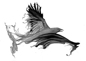 Raven Tattoo Design by PyromaniacFeline17