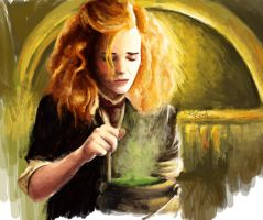 Hermione in Potions Class by KayGoody