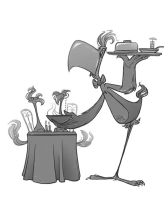 The Bird Waiter by FreakyPicasso