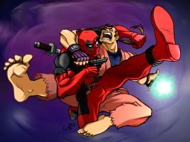 Dan versus Deadpool by DaiKuwabara