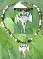 Double Dragons with Pentacle Necklace by SacredJourneyDesigns