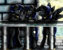 Triplets night out by FlyingPony