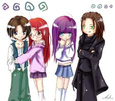 Chibi comission - 4 characters by aiki-ame