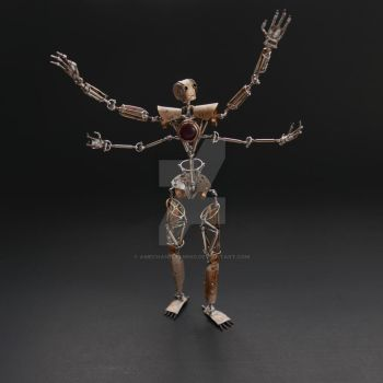Articulated Watch Parts Humanoid Number Seven by AMechanicalMind