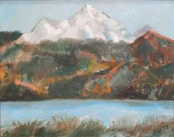 Snow Mountains in Oil by CarolynYM