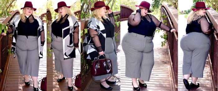 Heavy woman in grey chequered trousers by EnergyToBeauty