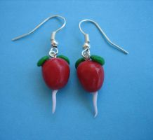 Radish Earrings by ClayMyDay