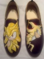 Super Sonic and Shadow Custom Canvas Shoes by Acrylicolt