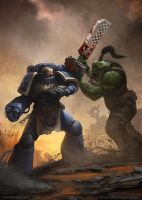 Space Marine vs Ork by thomaswievegg