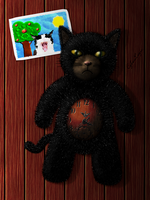 Stuffed Toy Kitty Clock by CyberLogic