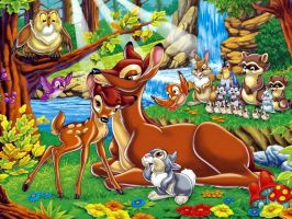 bambi with friends and mother by neitrali