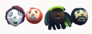 Needle-felted plushie Super Best Friends heads by Scarygothgirl