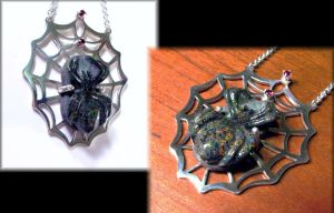 Opal and Garnet Spider Pendant by jessa1155