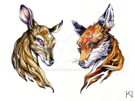 Fox and Doe tattoo design by Kaos-Nest