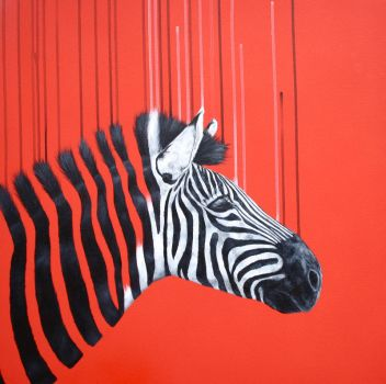Commission - Zebra on red by LouiseMcNaught