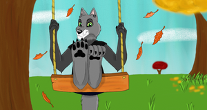 Swinging in Autumn_Contest entry by SolitaryGrayWolf