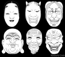 Noh Masks and Buddha Face by enchantedgal