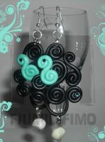 Black e Turquoise Swirl Earrings by FiumiDiFimo