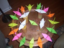 Origami Paper Cranes for Japan by celestial-lights