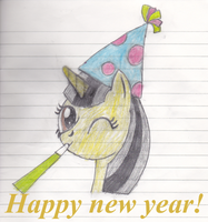 Happy New Year from Holly Grayscale by Randina42