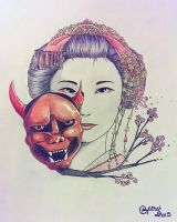 Geisha and Kabuki mask by Thildou-chan