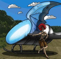 Girl and her dragon-chopper by Otamie