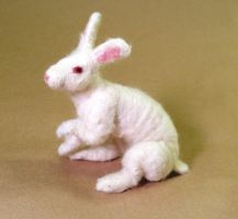 Poseable Needle-felted White Rabbit by Maresy