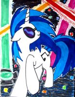Vinyl Scratch Rave by Wolf--Shadow
