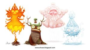 elemental creatures by shoze