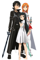 SAO - Kirito, Asuna e Yui - Lineart Colored by DennisStelly