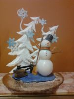 Snowman Chocolate Art Display by sunflora263