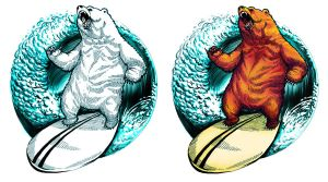 surfing bear by RusRed