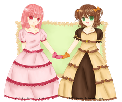 Commission : Chocolate-Hime and Strawberry-Hime by KazugaMei5