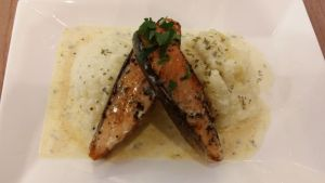 Pan Seared Salmon with Cream Sauce by nosugarjustanger