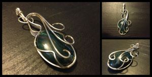 Green Agate Wire Wrapped Pendant by BlockheadGaming