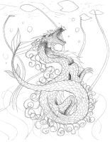 Koi Fish Dragon Lineart - Again WIP by XRosewaterX