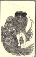 Moleskine - Hipster Owl by tristanblair